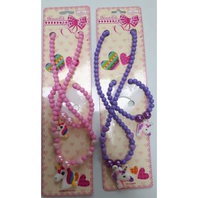 Unicorn Armband en ketting set Paars
